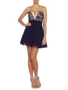 Sweetheart lace top fit and flare dresss