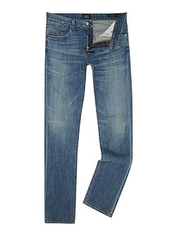 Straight Cut Medium Wash Mid Rise Authentic Jeans