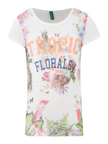 Girls tropic sequins tee