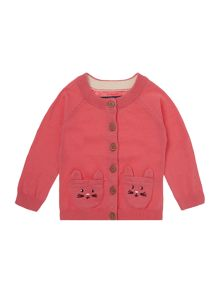 Girls Cat Pocket Cardigan