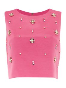 Sleeveless all over embellished top