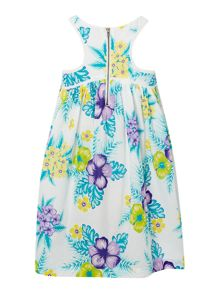 Girls tropical floral sleeveless dress
