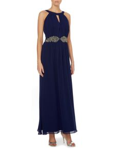 Little Mistress Sleeveless Halter Neck Embellished Waist Maxi