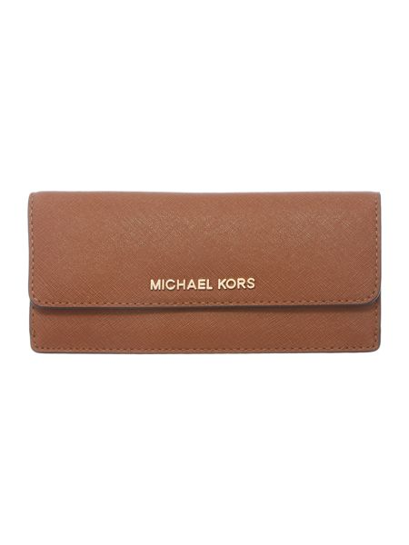 Michael Kors Jetset tan flat flap over purse