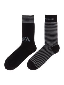 2 Pack Stripe And Plain Socks