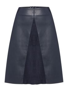 Pu and faux suede a line skirt