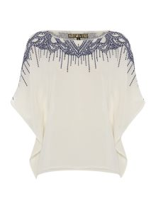 Embroidered square oversized blouse