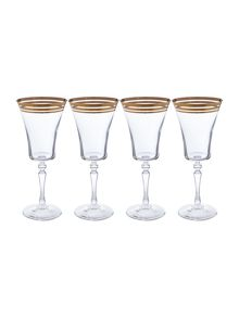 Biba Baroque Gold Wine Glass Set Of 4