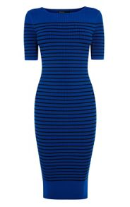Rayon tonal blues stripe dress