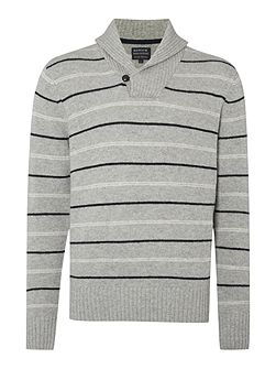 Men's Howick Rockport Striped Shawl Neck Jumper