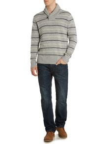 Howick Rockport Striped Shawl Neck Jumper