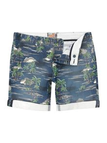 Punali Regular Fit Palm Tree Print Chino Shorts