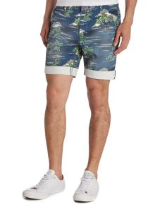 Bellfield Punali Regular Fit Palm Tree Print Chino Shorts