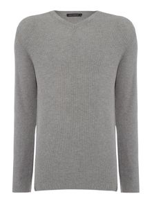 French Connection Spring Rib Plain V Neck Jumper