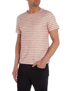 Reverse Loopback Striped Pocket T-Shirt