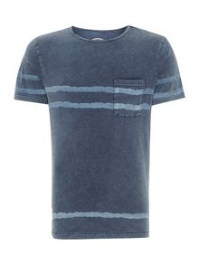 Oversized Faded Striped Pocket T-Shirt