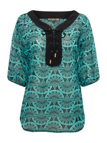 Printed tie front blouse