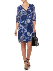 Printed and beaded tunic dress