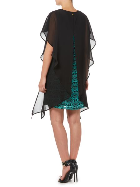Biba Chiffon overlay printed dress