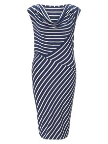 Samantha stripe cowl dress