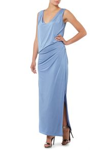Biba V neck button detail maxi dress