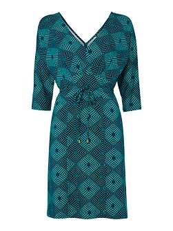 Biba Diamond printed tie waist jersey dress
