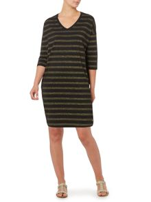 Metallic stripe tunic dress