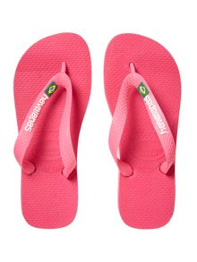 Girls Brazil Flag Flip Flops