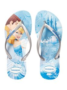 Girls Frozen Silver Flipflops