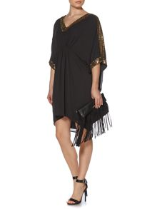 Biba Embellished shoulder kaftan dress
