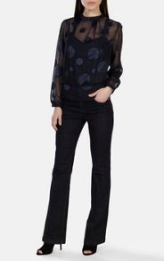 Dot devore blouse