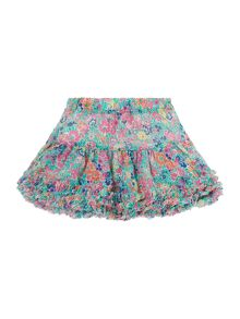 Girls Puff Ball Floral Skirt