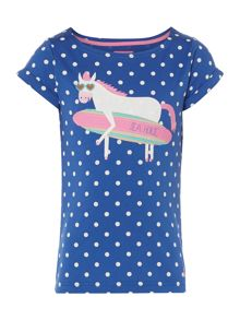 Girls Polka Dot Jersey Tshirt With Horse