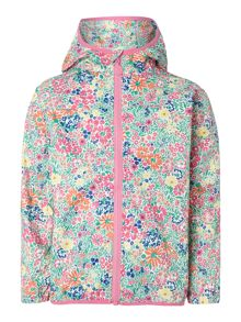 Girls Floral Hooded Zip Thru Mac