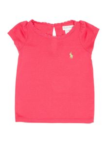 Girls Small Pony Player Lace Trim Tshirt