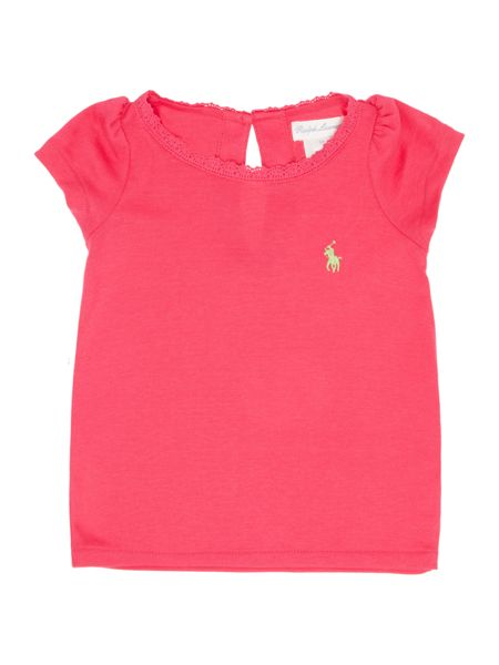 Polo Ralph Lauren Girls Small Pony Player Lace Trim Tshirt