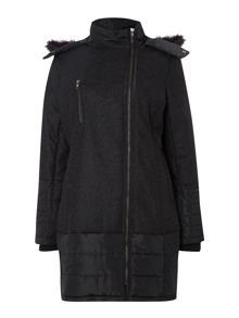 Label Lab Wool quilt mix parka coat