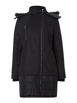 Wool quilt mix parka coat