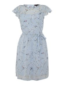 Therapy Floral bird print tie waist dress