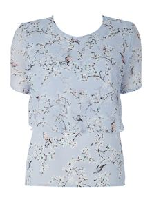 Floral bird print double layer top