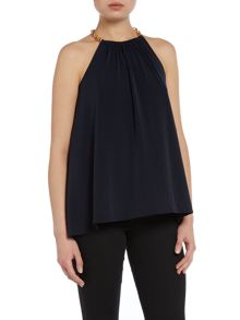 Sleeveless top with chain halter neck