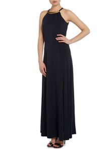 Plain Maxi dress with gold plate detail
