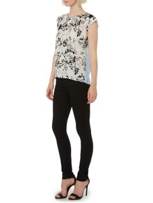 Botanical floral woven front top