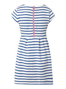 Girls blue stripe jersey dress with flower