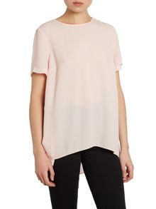 Shortsleeve high low hem blouse