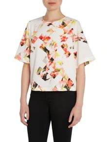 Vince Camuto 3/4 sleeve photo floral print top