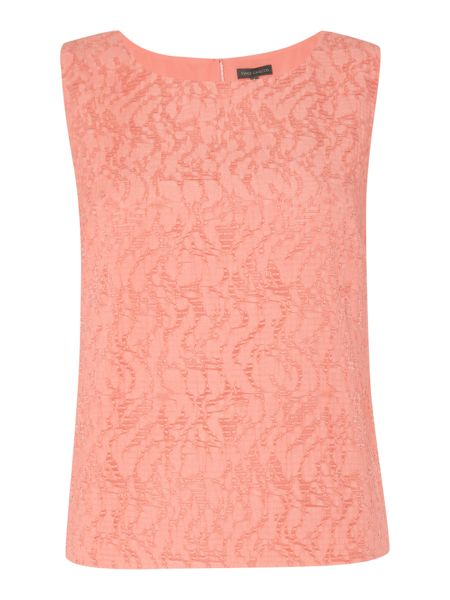 Vince Camuto Sleeveless floral print textured crop top