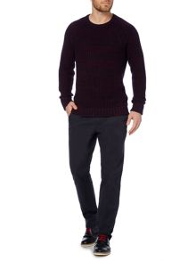 Lanchester Two Colour Ribbed Jumper
