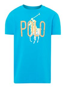 Boys ombre graphic pony polo