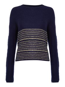 Therapy Metallic stripe jumper